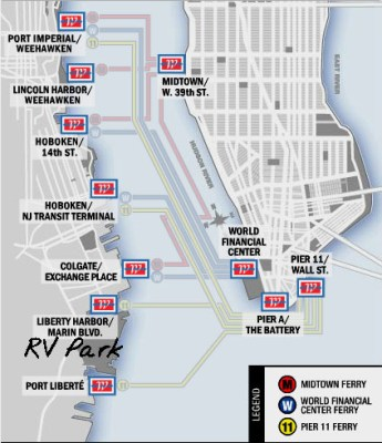 Map of NY Waterway Ferries. I've circled the RV Park.