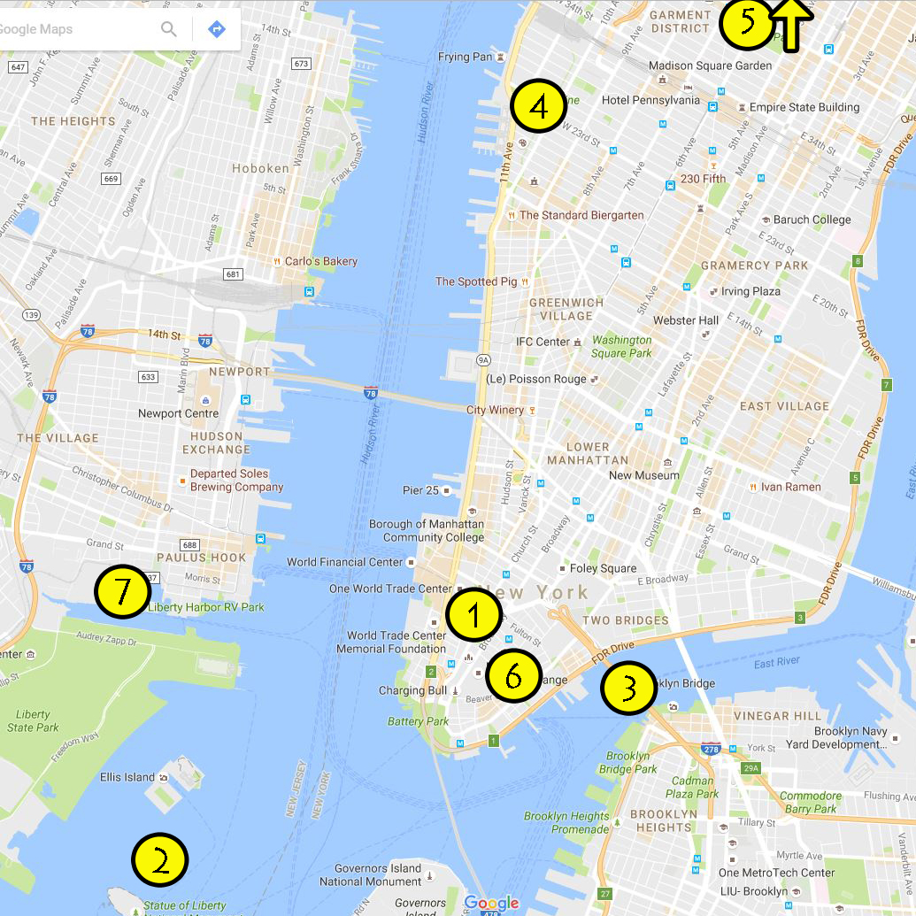 approx location of the few sights we saw in nyc