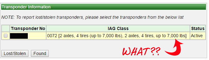 Our transponder says max 7,000 lbs but apparently that's OK even for our RV