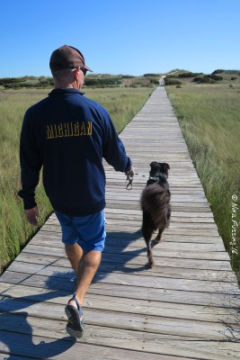 Walking the boardwalk towards the beach at Frisco Campground