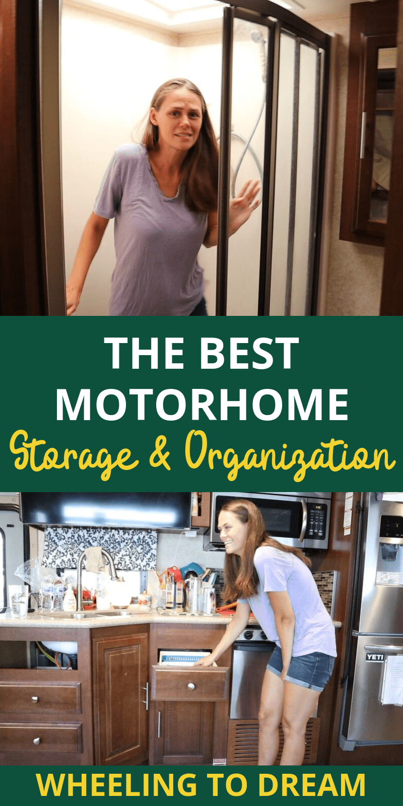 Learn how to organize your RV with ease! Maximize your RV storage space by utilizing all of the space available to you. In this post, we are deep diving on rv kitchen storage ideas that you can utilize in your motorhome, travel trailer or 5th wheel. These are definitely highly sought after rv hacks rv organization! #rvorganization #rvstorageideas #rvlifestyle