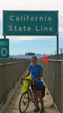 Crossing into California on a bridge over the Colorado River.
