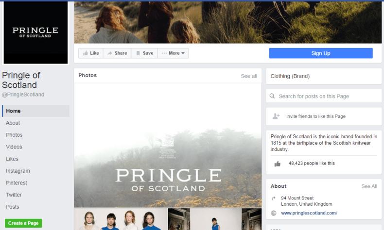 Pringle of Scotland Facebook