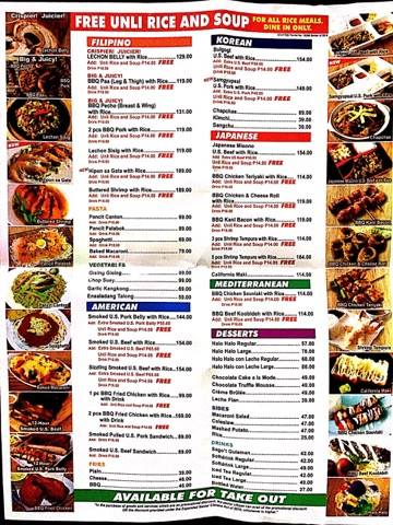 Number 1 BBQ menu