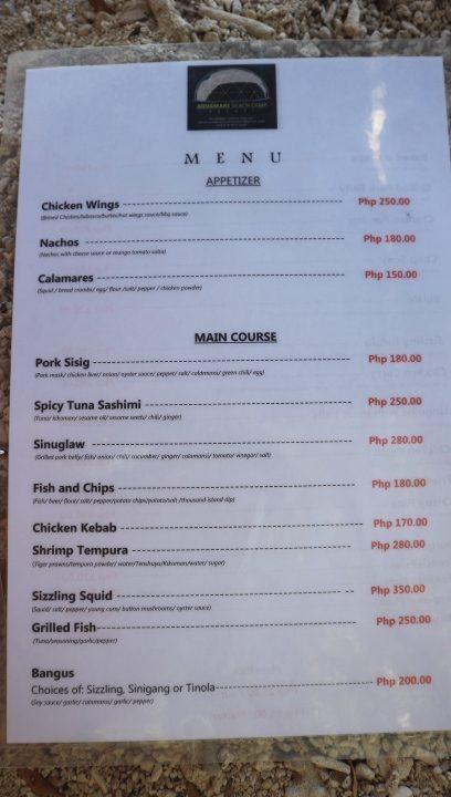 aquamare menu