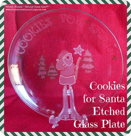 Cookies for Santa Etched Glass Plate