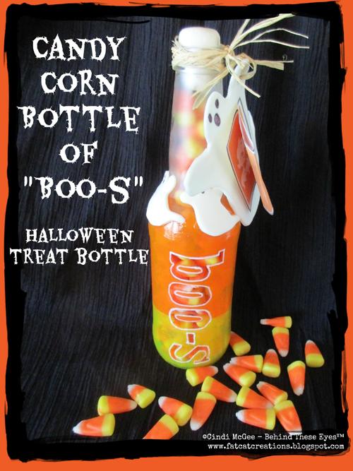 """Candy Corn Bottle of """"Boo-s"""" Halloween Treat Bottle"""