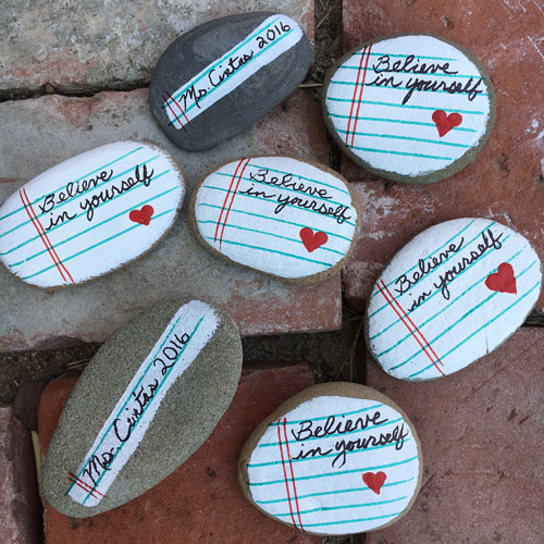 Binder Paper Painted Rocks for Graduation