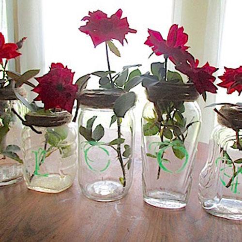 vintage etched jar vases