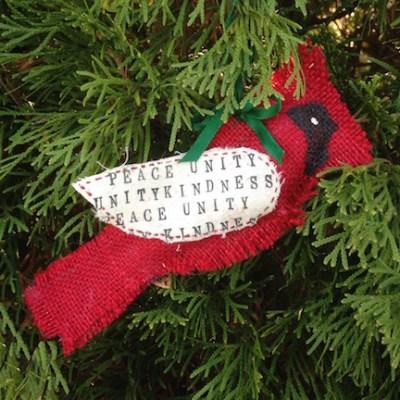 Peace, Unity, Kindness Cardinal Ornament