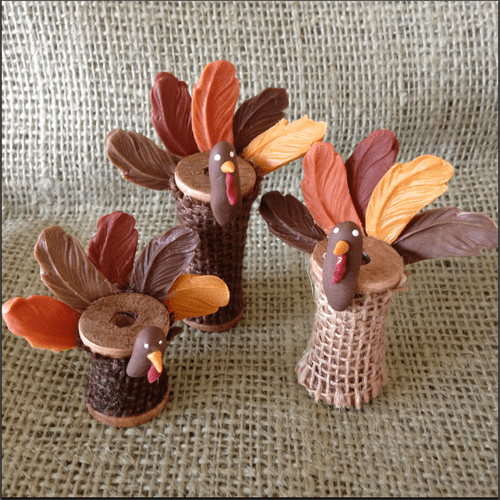 Wooden Spool Turkeys
