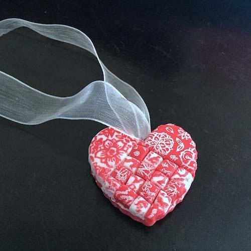 Faux Swedish Heart Polymer Clay Pendant