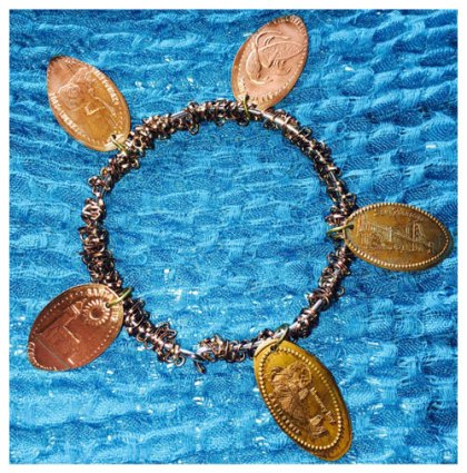 Smashed Penny Chain Weave Bracelet