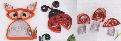 Quilling Creations: fox, ladybug, mushrooms