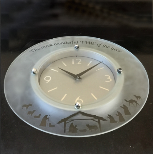 Etched Glass Christmas Clock