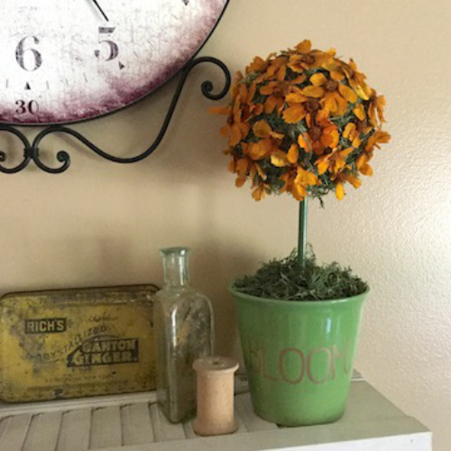 Dried Flower Topiary with Etched Pot