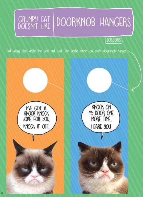 Grumpy Cat Doesn't Like Doorknob Hangers