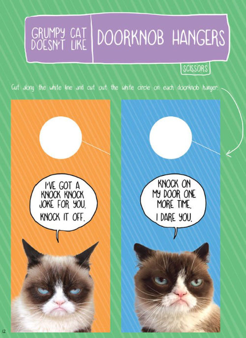 Grumpy Cat Doesn't Like Doorknob Hangers