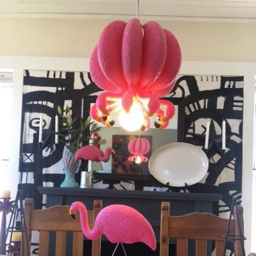 Pink Flamingo Hanging Lamp