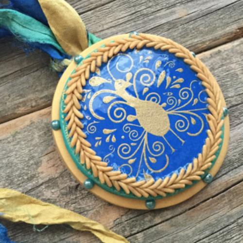 Silkscreened Peacock Pendant