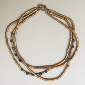 Triple Strand Gold Tubes Necklace