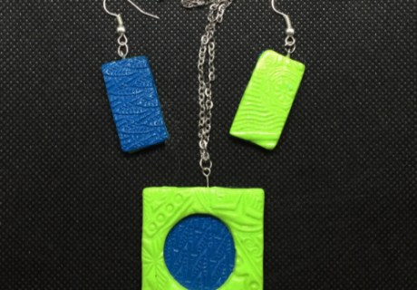 Textured Pendant and Earrings