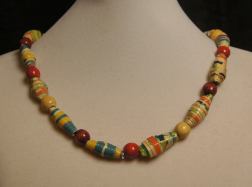 African-Inspired Rolled Paper Bead Necklace with Red Wood Spacer Beads