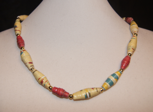 African-Inspired Rolled Paper Necklace with gold spacer beads