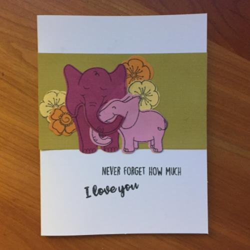 Die Cut Elephant Love Card