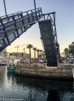 Pedestrian bridges lift to let the yachts come and go
