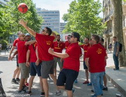These Spanish fans are still enjoying themselves, even if their team didn't make it this far.