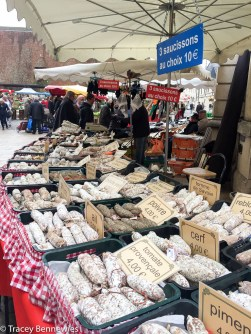 Sausages of all kinds at the Beaune market