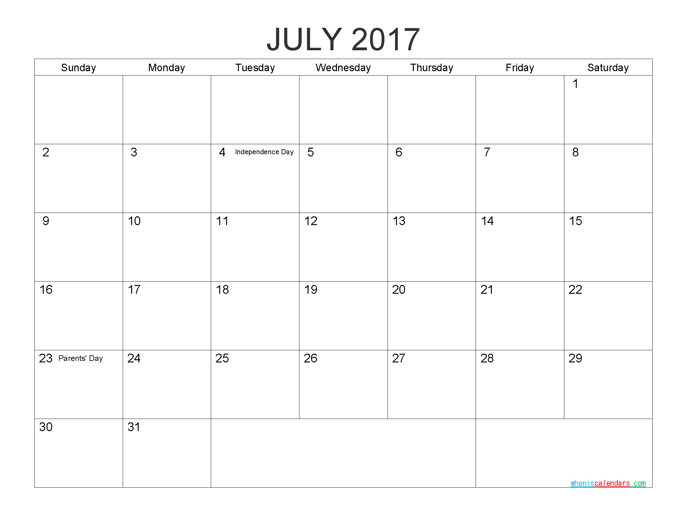 Printable Calendar Templates July