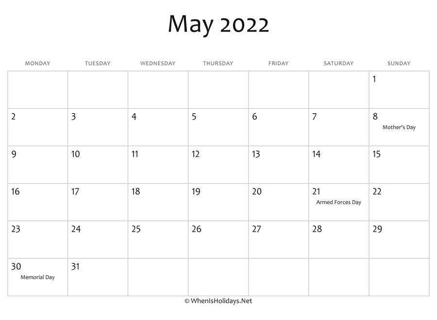 May 2022 Calendar Printable with Holidays | WhenisHolidays.Net