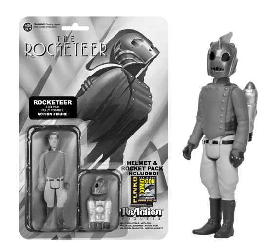 Take flight with the Black and White Rocketeer! The Rocketeer comes equipped with a removable helmet and jetpack for his adventures in flight!