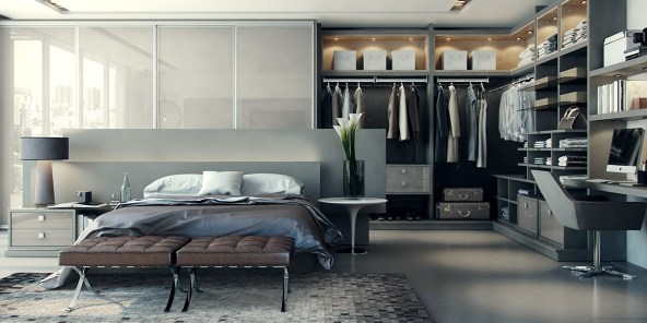 Modern-bedrooms-with-attached-wardrobe