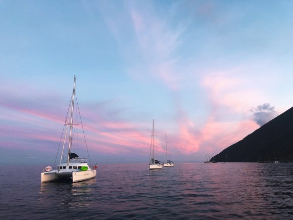 Sailboats in Stromboli, Aeolian Islands