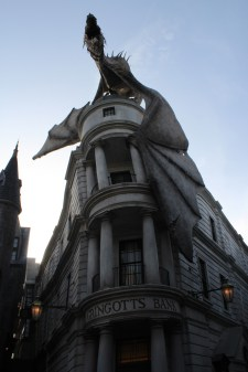 Gringotts and the dragon looked so wicked as the sun went down.