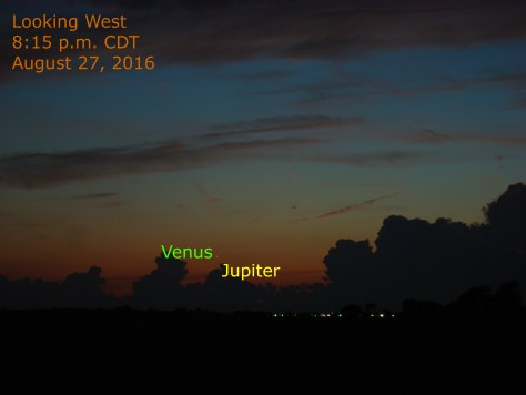 Venus-Jupiter conjunction of August 27, 2016