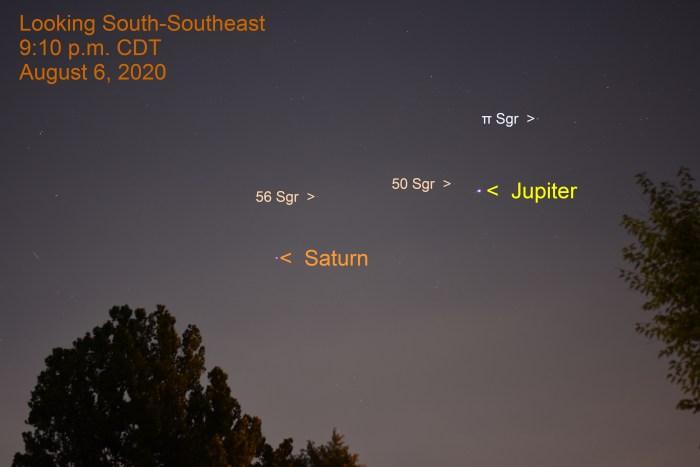Jupiter and Saturn, August 6, 2020