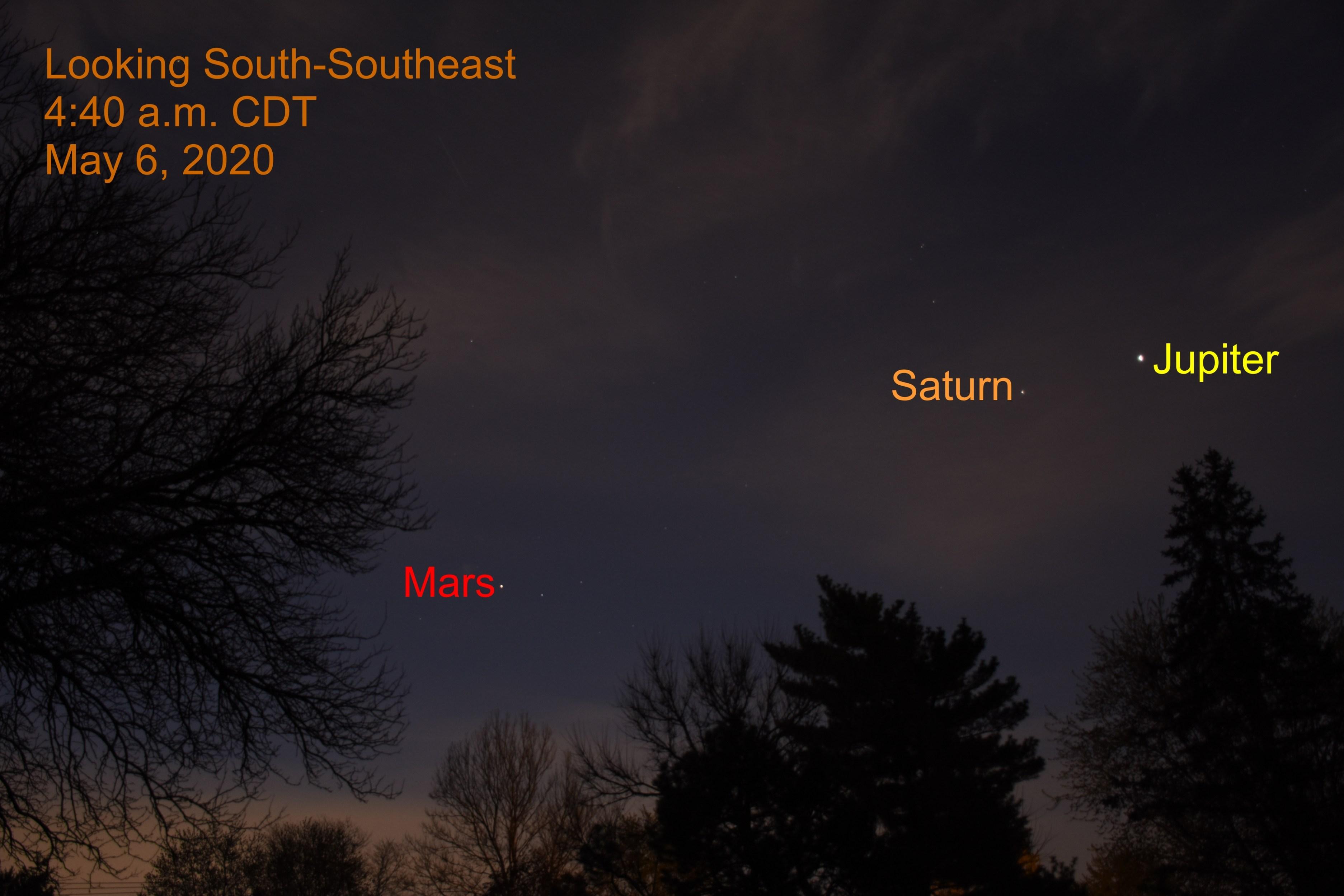 Jupiter, Saturn, and Mars, May 6, 2020