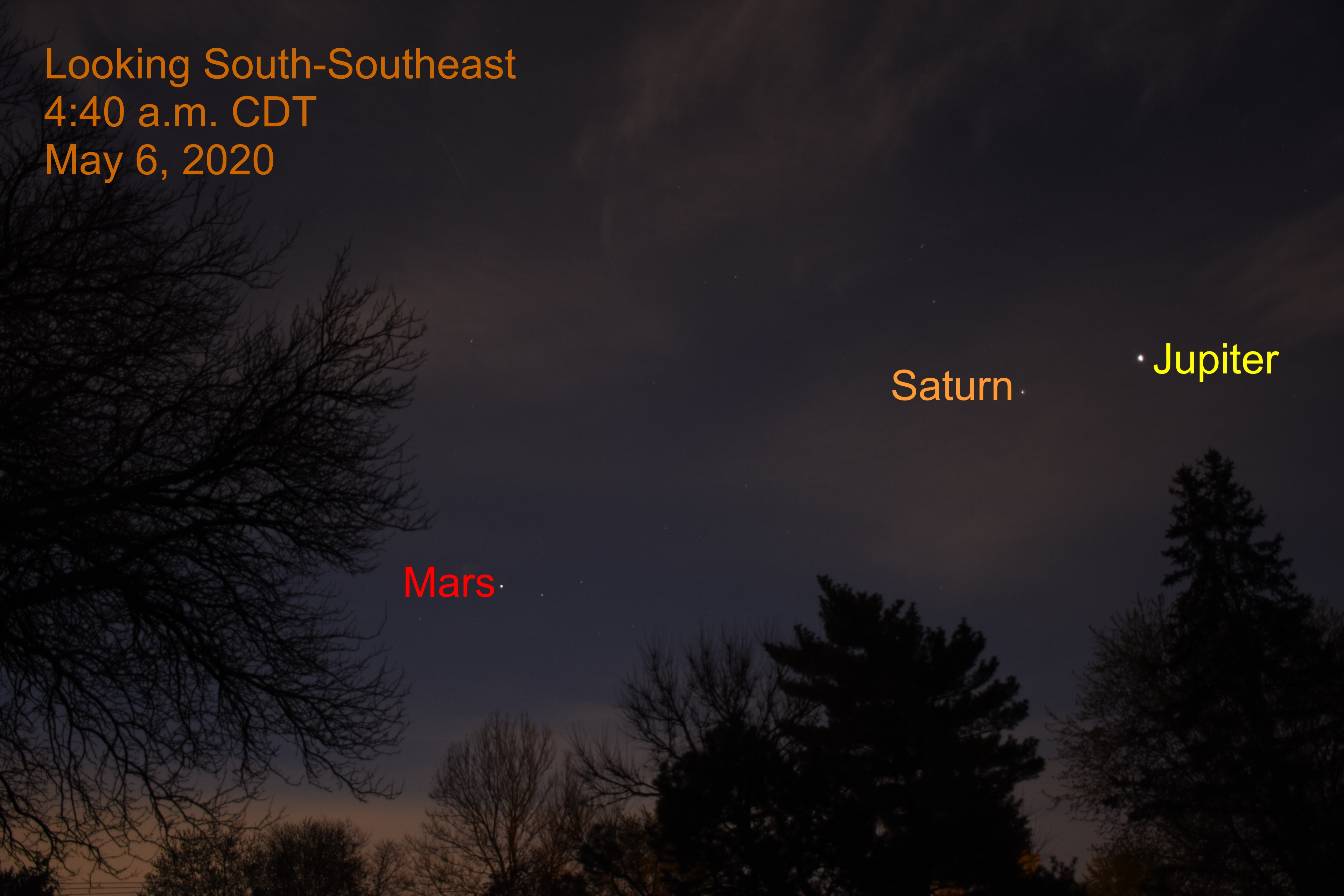 Jupiter, Saturn, and Mars, May 6, 2020