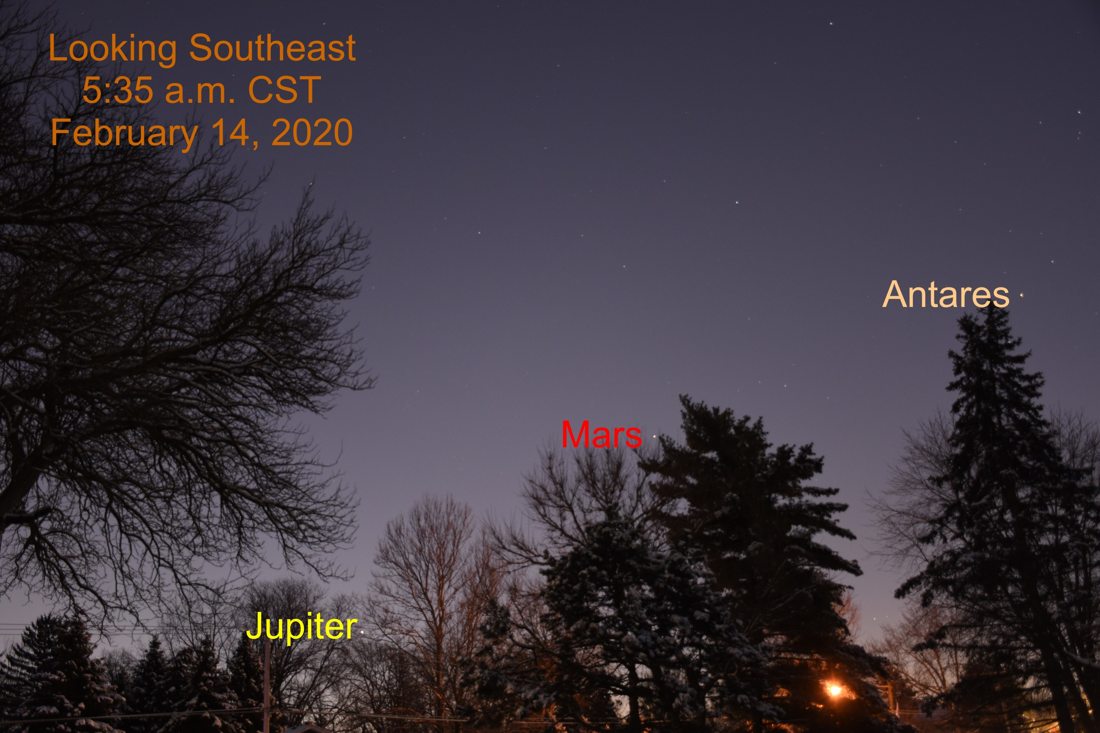 Jupiter and Mars, February 14, 2020