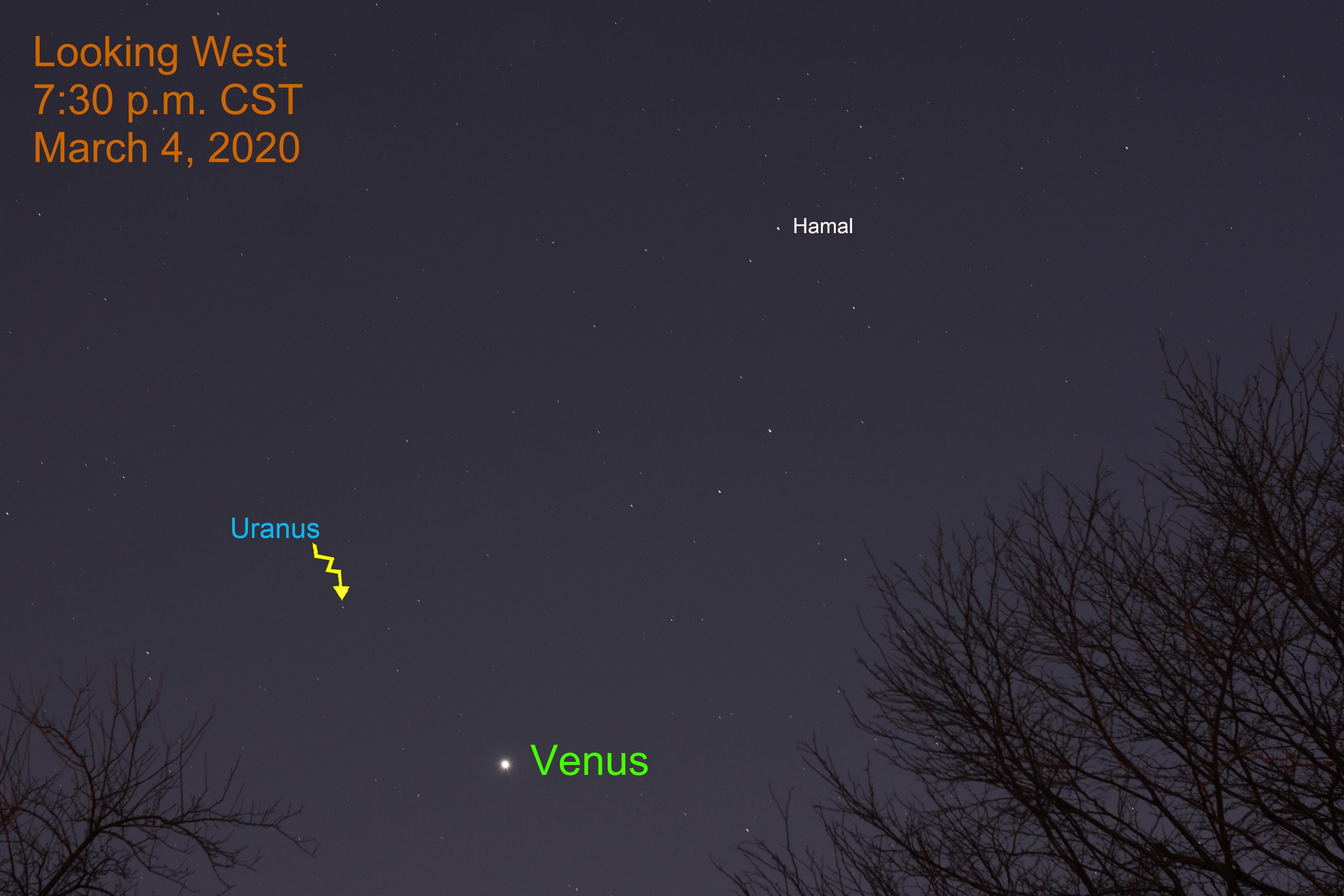 Venus and Uranus March 4, 2020