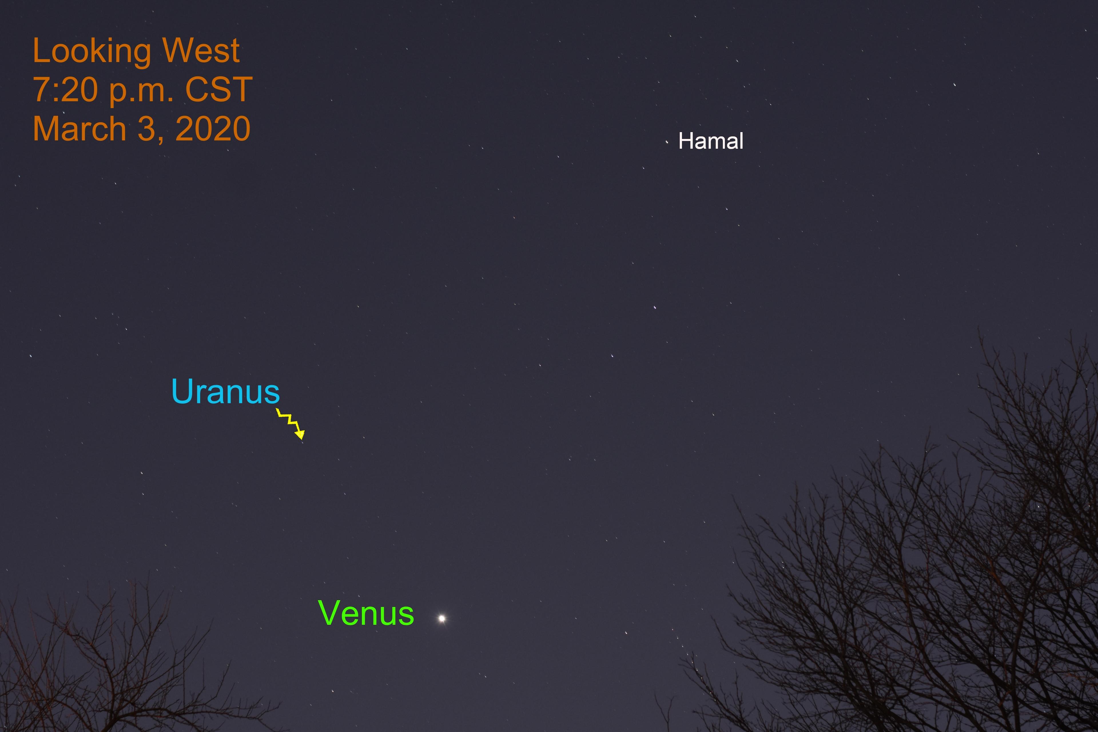 Venus and Uranus, March 3, 2020