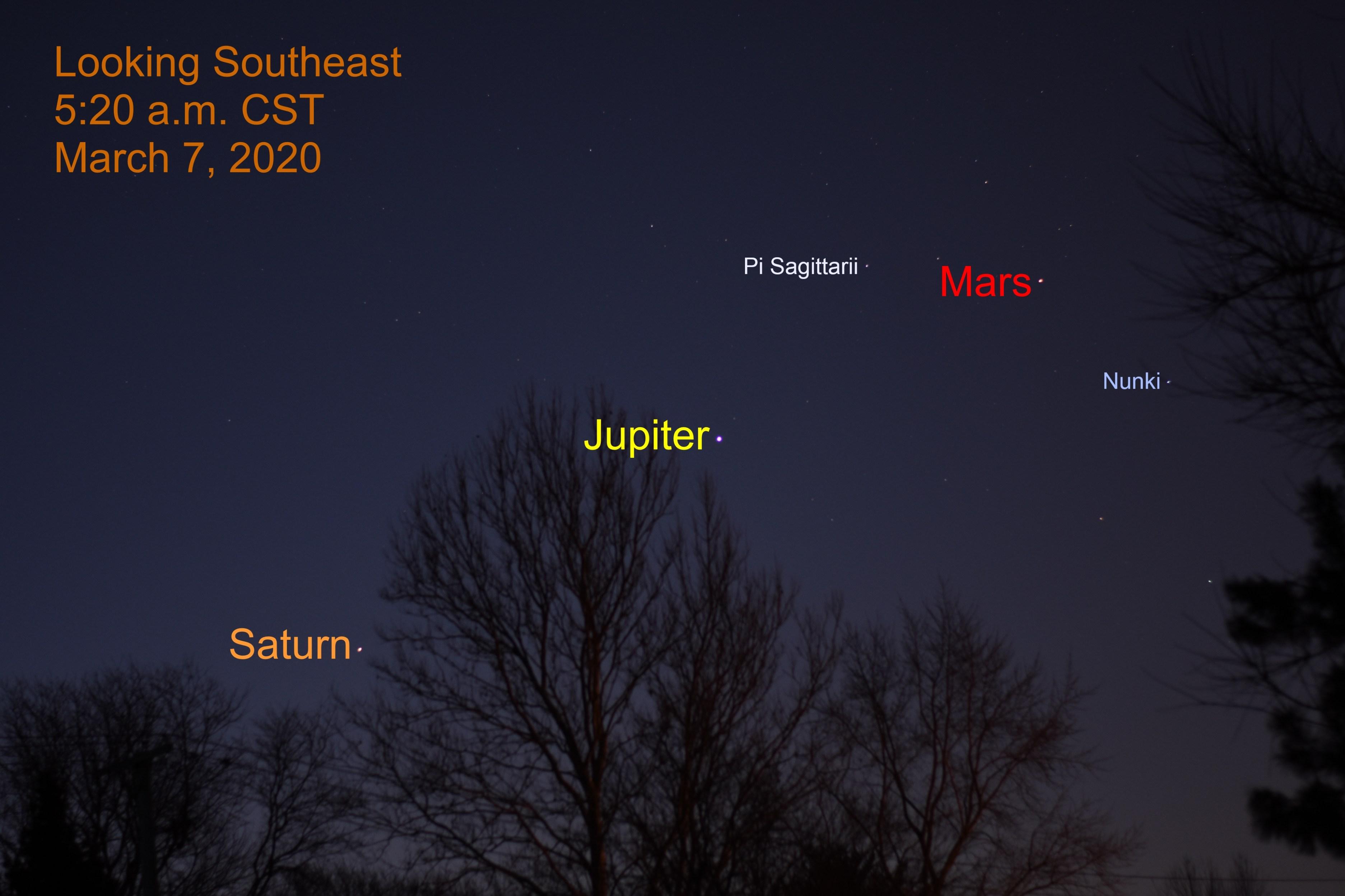 Mars, Jupiter, and Saturn, March 7, 2020