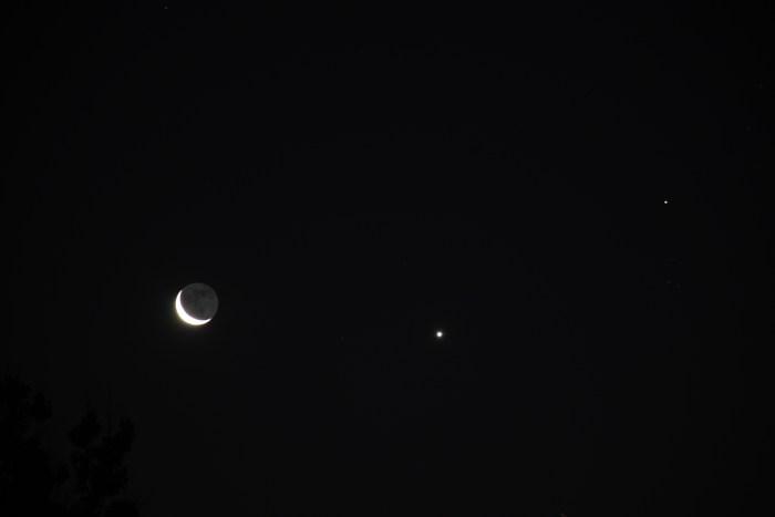Crescent Moon, Venus, Aldebaran, July 17, 2020