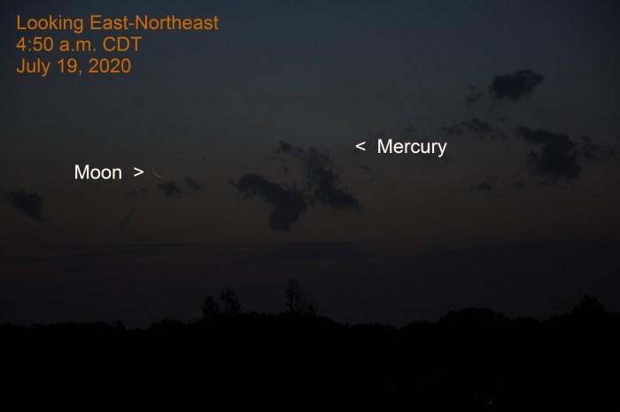 Mercury and Moon, July 19, 2020