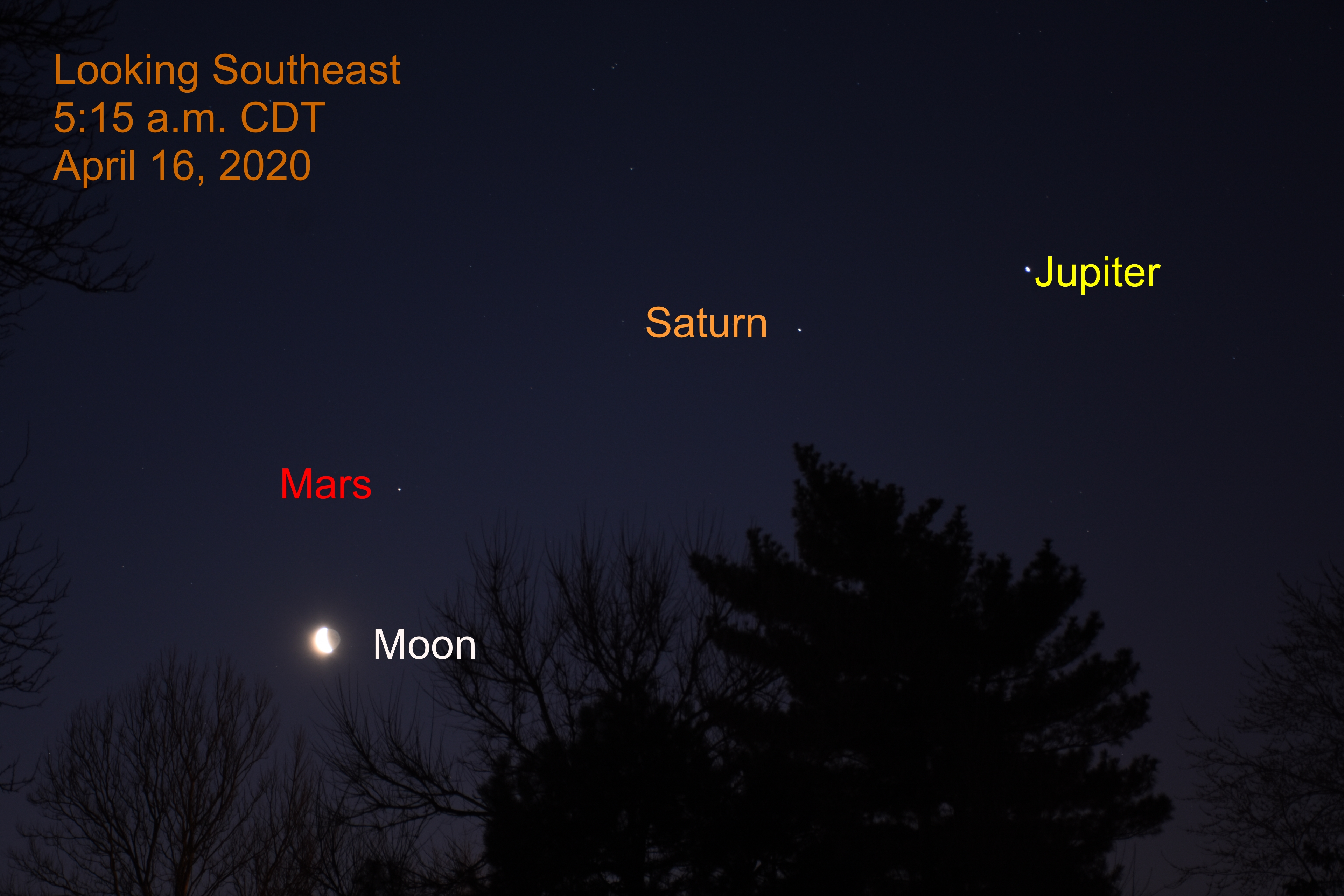 The moon is near Mars as it passes the morning planets, April 16, 2020.