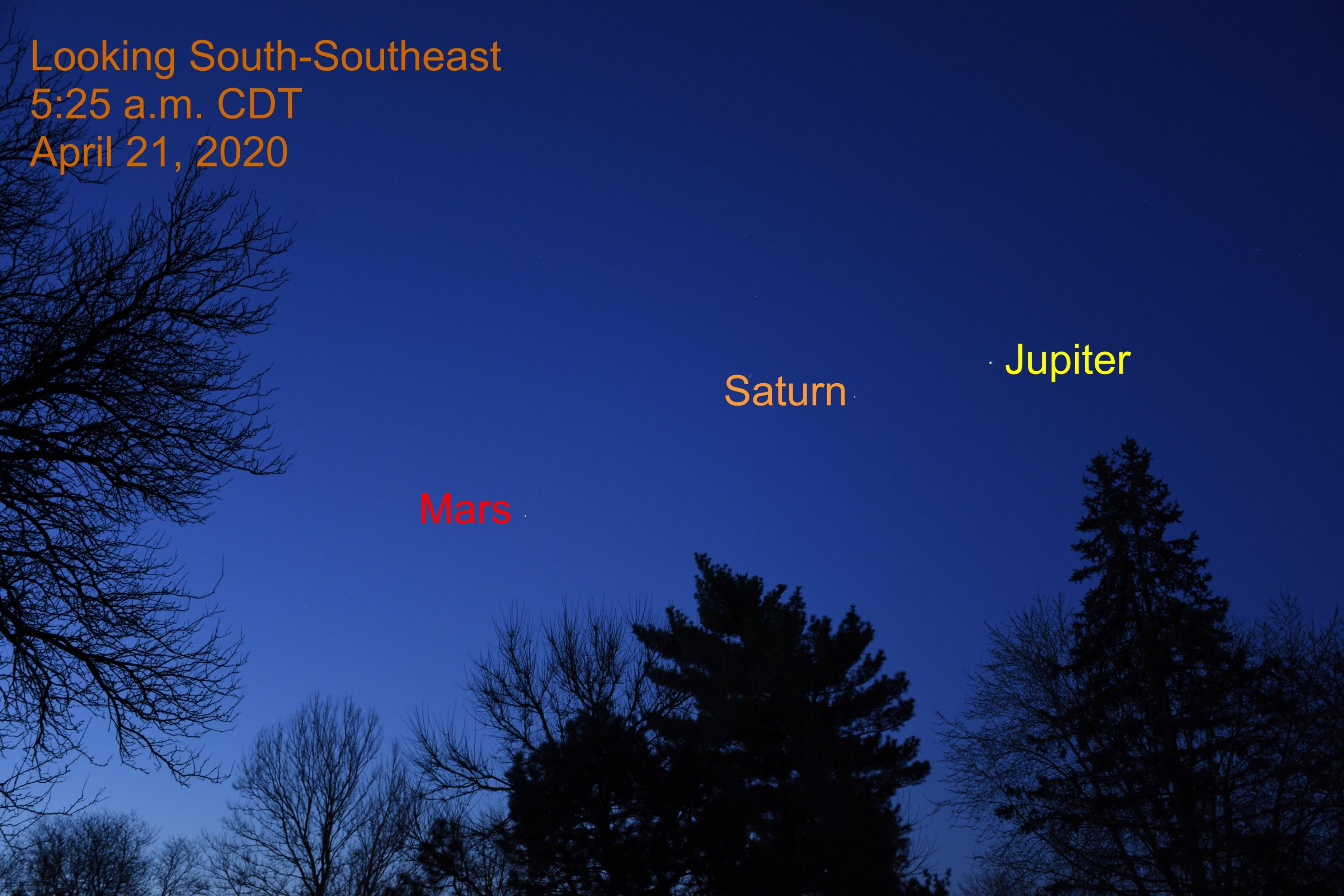 Jupiter, Saturn, and Mars, April 21, 2020